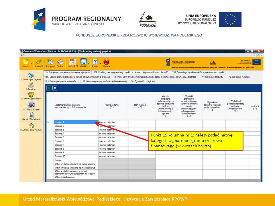 Urząd Marszałkowski Województwa Podlaskiego - Instytucja Zarządzająca RPOWP Punkt 15 kolumna nr 1: należy podać nazwę kategorii wg harmonogramu rzeczo