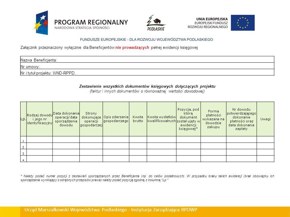 Urząd Marszałkowski Województwa Podlaskiego - Instytucja Zarządzająca RPOWP Załącznik przeznaczony wyłącznie dla Beneficjentów nie prowadzących pełnej