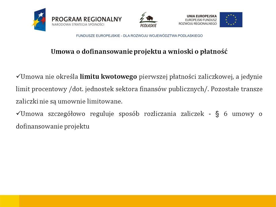 Urząd Marszałkowski Województwa Podlaskiego - Instytucja Zarządzająca RPOWP Umowa o dofinansowanie projektu a wnioski o płatność Umowa nie określa lim