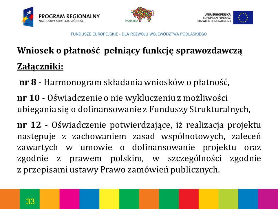 33 Wniosek o płatność pełniący funkcję sprawozdawczą Załączniki: nr 8 - Harmonogram składania wniosków o płatność, nr 10 - Oświadczenie o nie wyklucze
