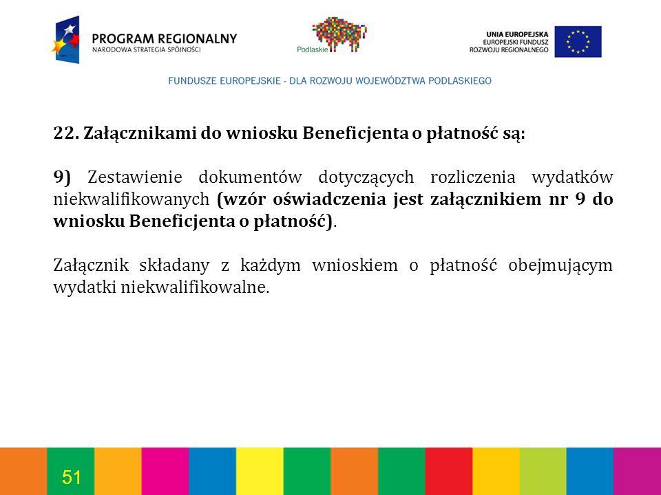 51 22. Załącznikami do wniosku Beneficjenta o płatność są: 9) Zestawienie dokumentów dotyczących rozliczenia wydatków niekwalifikowanych (wzór oświadc