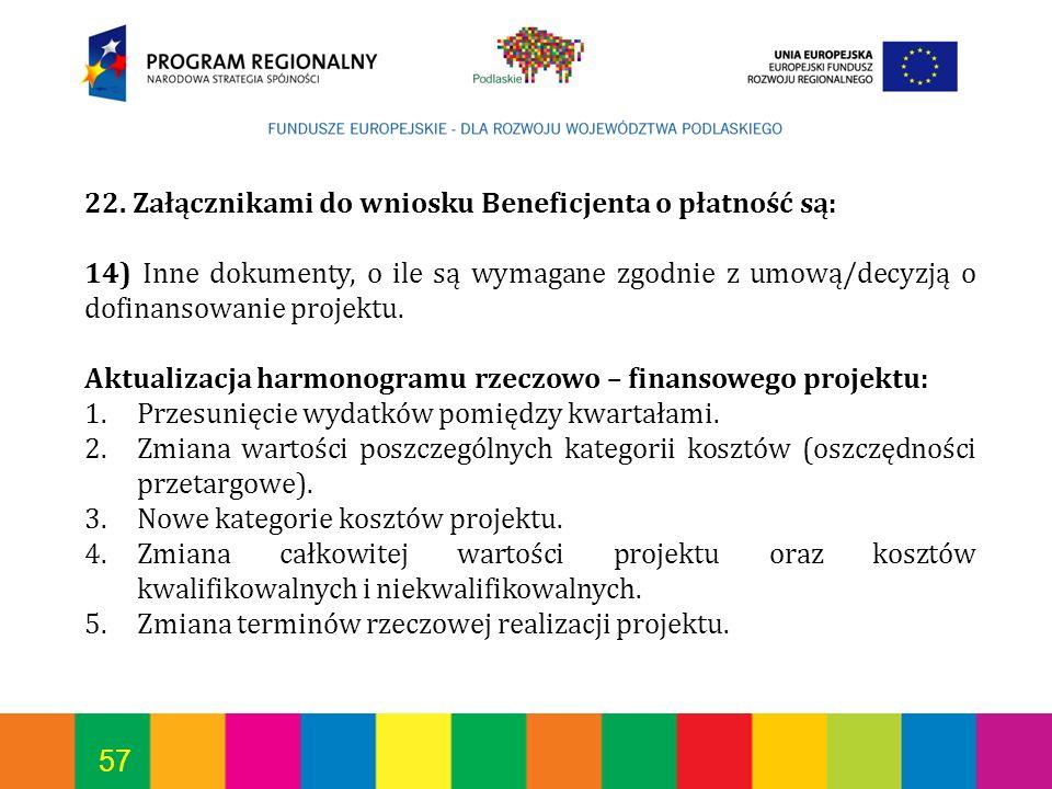 57 22. Załącznikami do wniosku Beneficjenta o płatność są: 14) Inne dokumenty, o ile są wymagane zgodnie z umową/decyzją o dofinansowanie projektu. Ak