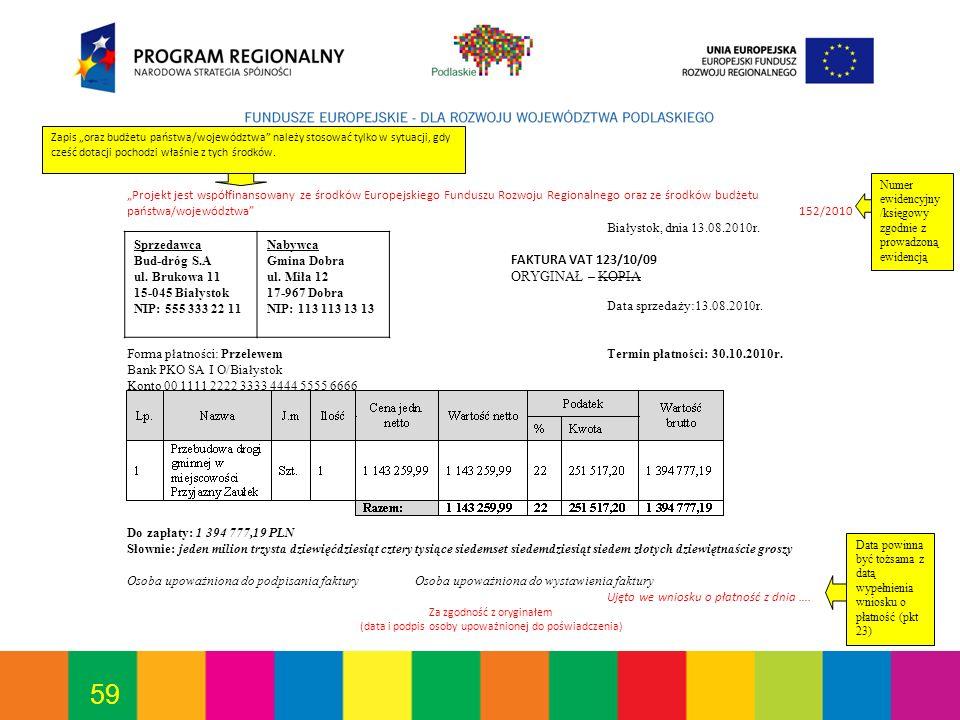 59 Projekt jest współfinansowany ze środków Europejskiego Funduszu Rozwoju Regionalnego oraz ze środków budżetu państwa/województwa 152/2010 Białystok