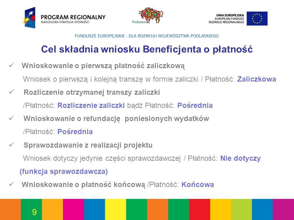 50 Poszczególne wiersze powinny sumować się do całkowitej kwoty dofinansowania określonej w aktualnej umowie o dofinansowanie projektu.