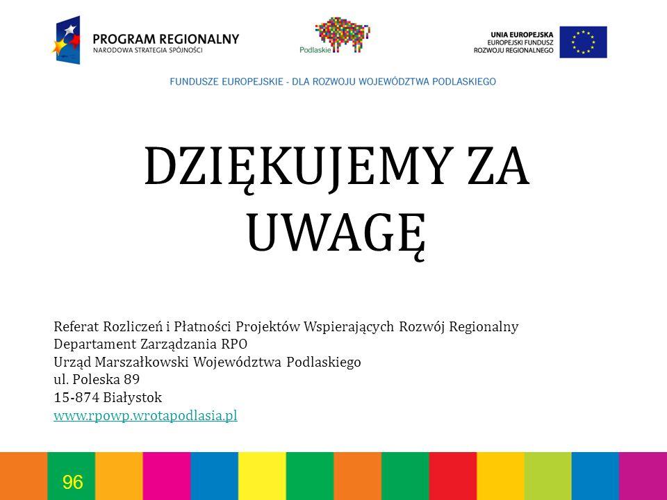 96 DZIĘKUJEMY ZA UWAGĘ Referat Rozliczeń i Płatności Projektów Wspierających Rozwój Regionalny Departament Zarządzania RPO Urząd Marszałkowski Wojewód