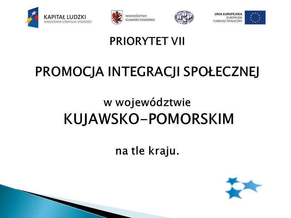 PRIORYTET VII PROMOCJA INTEGRACJI SPOŁECZNEJ w województwie KUJAWSKO-POMORSKIM na tle kraju.