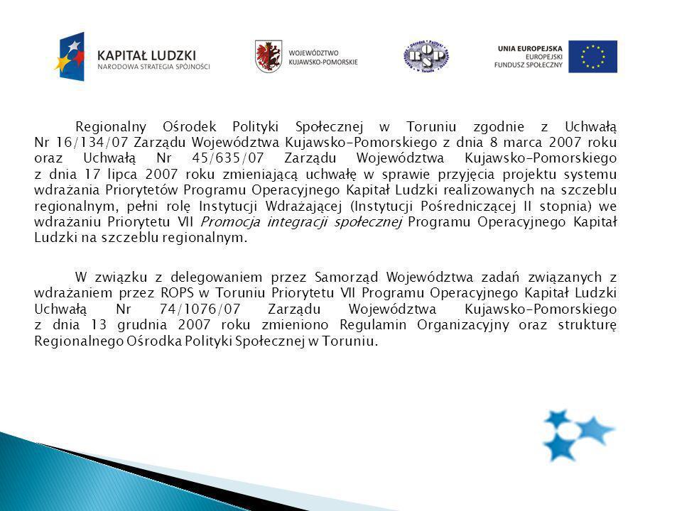 Instytucje objęte wsparciem w ramach projektu w roku 2009 Jednostki organizacyjne pomocy społecznej GOPS, MGOPS, MOPS, MOPR PCPRDomy Pomocy Społecznej Placówki opiekuńczo- wychowawcze Regionalny Ośrodek Polityki Społecznej w Toruniu Podmioty Ekonomii Społecznej Organizacje pozarządowe działające w zakresie aktywnej integracji Warsztaty Terapii Zajęciowej Spółdzielnie socjalne Kluby Integracji Społecznej Inne służby w zakresie organizacji i szkolenia zespołów interdyscyplinarnych PedagodzyPolicjanciPsychologowie Kuratorzy zawodowi Terapeuci Pielęgniarki środowiskowe