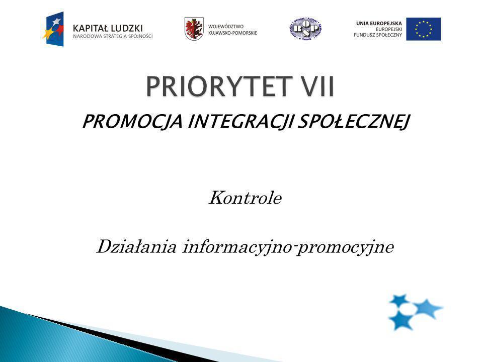 PROMOCJA INTEGRACJI SPOŁECZNEJ Kontrole Działania informacyjno-promocyjne