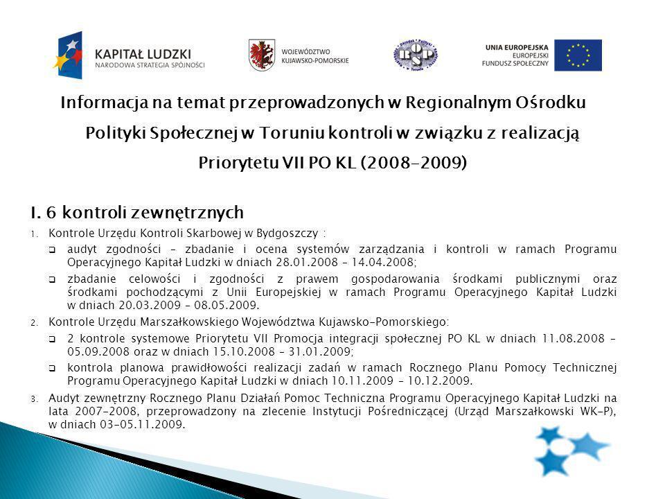 Informacja na temat przeprowadzonych w Regionalnym Ośrodku Polityki Społecznej w Toruniu kontroli w związku z realizacją Priorytetu VII PO KL (2008-2009) I.