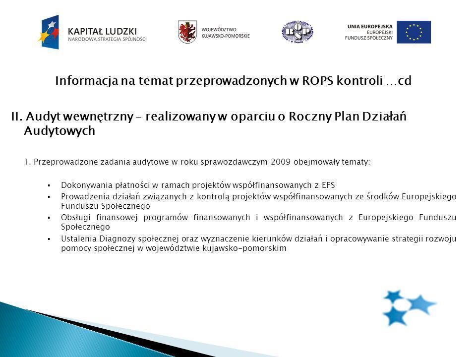 Informacja na temat przeprowadzonych w ROPS kontroli …cd II.