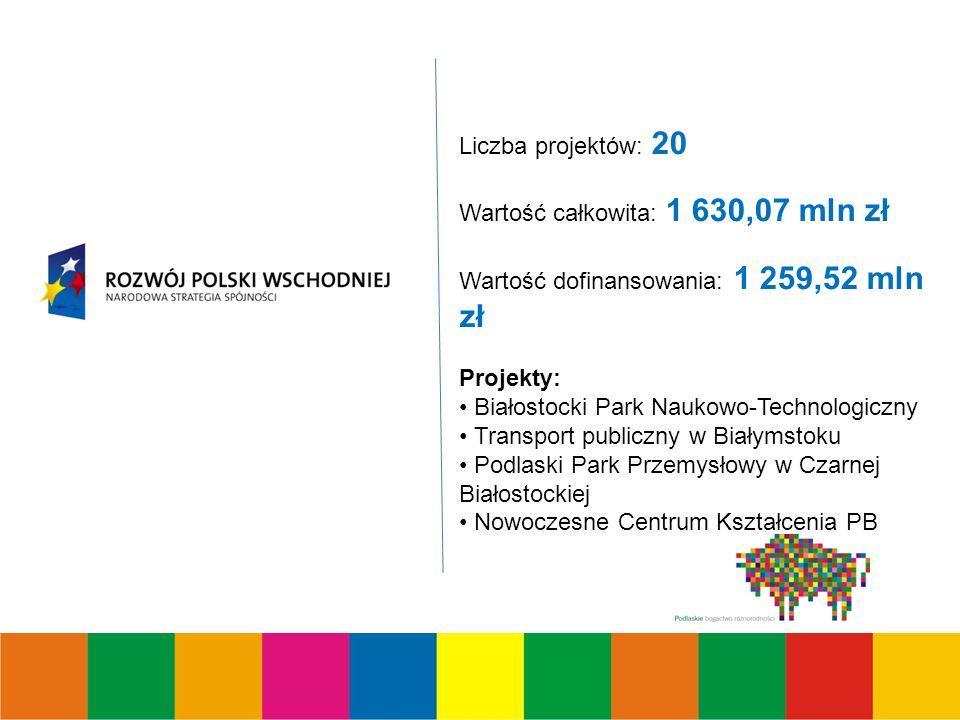 Liczba projektów: 20 Wartość całkowita: 1 630,07 mln zł Wartość dofinansowania: 1 259,52 mln zł Projekty: Białostocki Park Naukowo-Technologiczny Transport publiczny w Białymstoku Podlaski Park Przemysłowy w Czarnej Białostockiej Nowoczesne Centrum Kształcenia PB