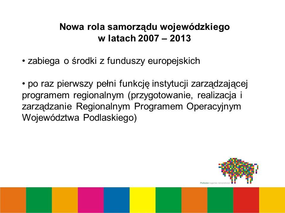 Nowa rola samorządu wojewódzkiego w latach 2007 – 2013 zabiega o środki z funduszy europejskich po raz pierwszy pełni funkcję instytucji zarządzającej programem regionalnym (przygotowanie, realizacja i zarządzanie Regionalnym Programem Operacyjnym Województwa Podlaskiego)