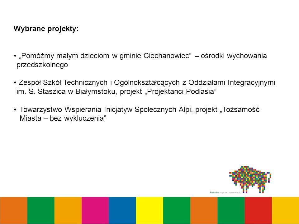 Wybrane projekty: Pomóżmy małym dzieciom w gminie Ciechanowiec – ośrodki wychowania przedszkolnego Zespół Szkół Technicznych i Ogólnokształcących z Oddziałami Integracyjnymi im.