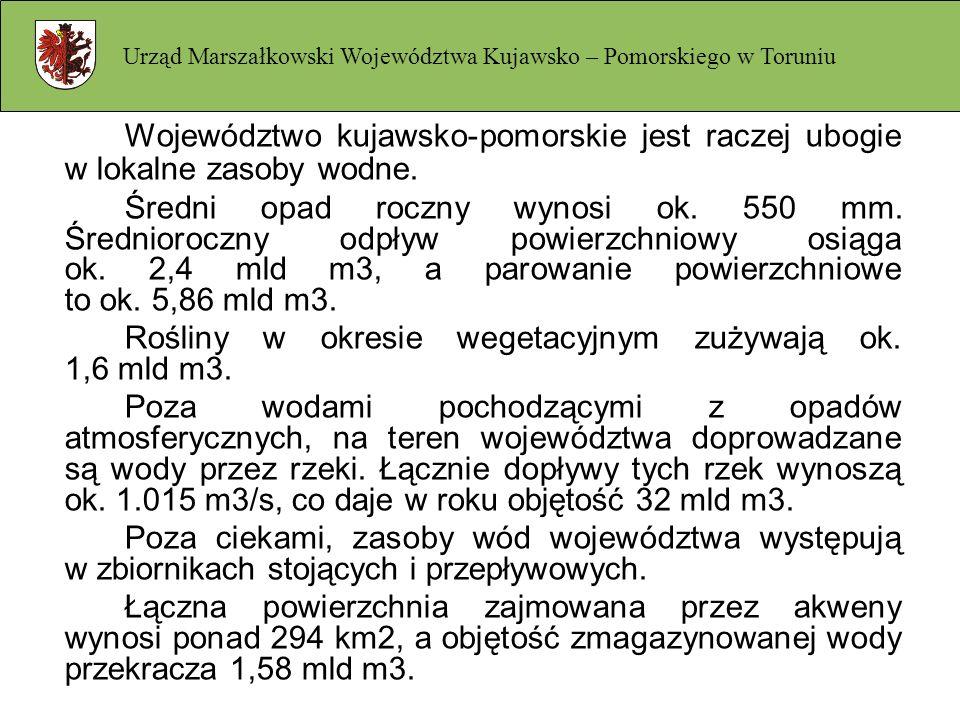 Województwo kujawsko-pomorskie jest raczej ubogie w lokalne zasoby wodne. Średni opad roczny wynosi ok. 550 mm. Średnioroczny odpływ powierzchniowy os