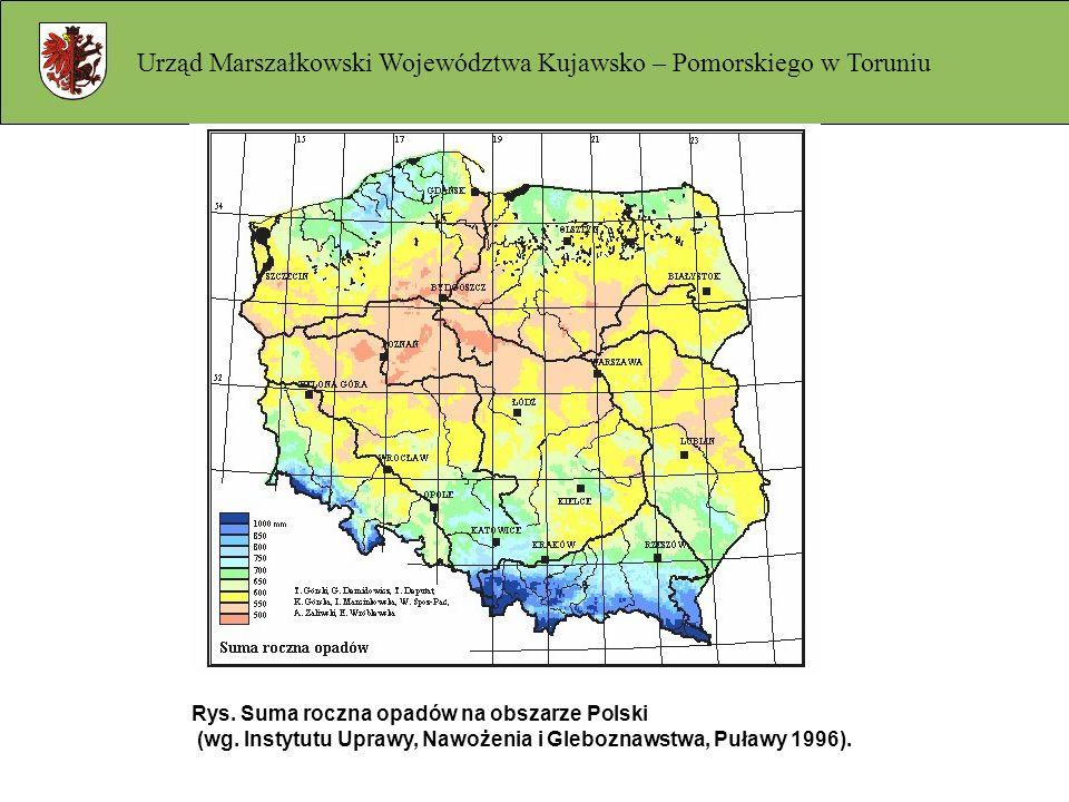 Rys. Suma roczna opadów na obszarze Polski (wg. Instytutu Uprawy, Nawożenia i Gleboznawstwa, Puławy 1996).