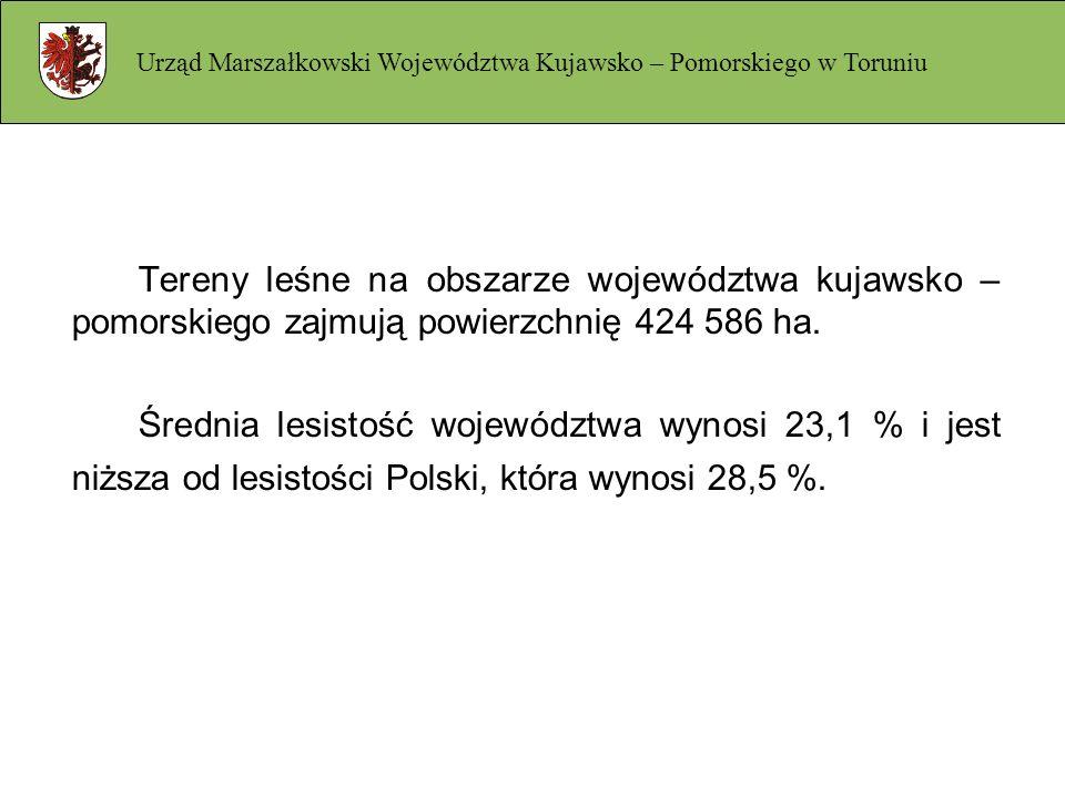 Tereny leśne na obszarze województwa kujawsko – pomorskiego zajmują powierzchnię 424 586 ha. Średnia lesistość województwa wynosi 23,1 % i jest niższa