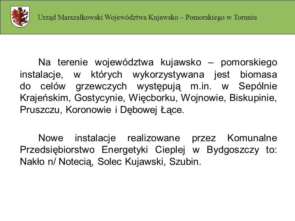 Na terenie województwa kujawsko – pomorskiego instalacje, w których wykorzystywana jest biomasa do celów grzewczych występują m.in. w Sepólnie Krajeńs