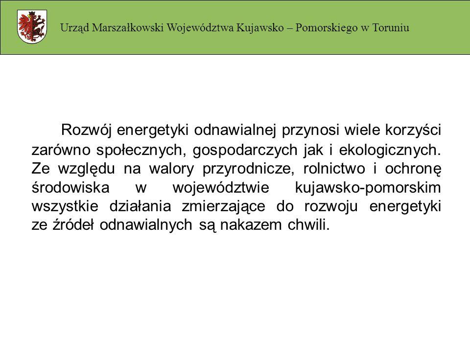 Charakterystyka województwa – aktualny stan wykorzystania OZE Urząd Marszałkowski Województwa Kujawsko – Pomorskiego w Toruniu