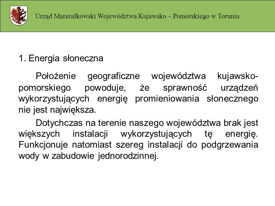 1. Energia słoneczna Położenie geograficzne województwa kujawsko- pomorskiego powoduje, że sprawność urządzeń wykorzystujących energię promieniowania