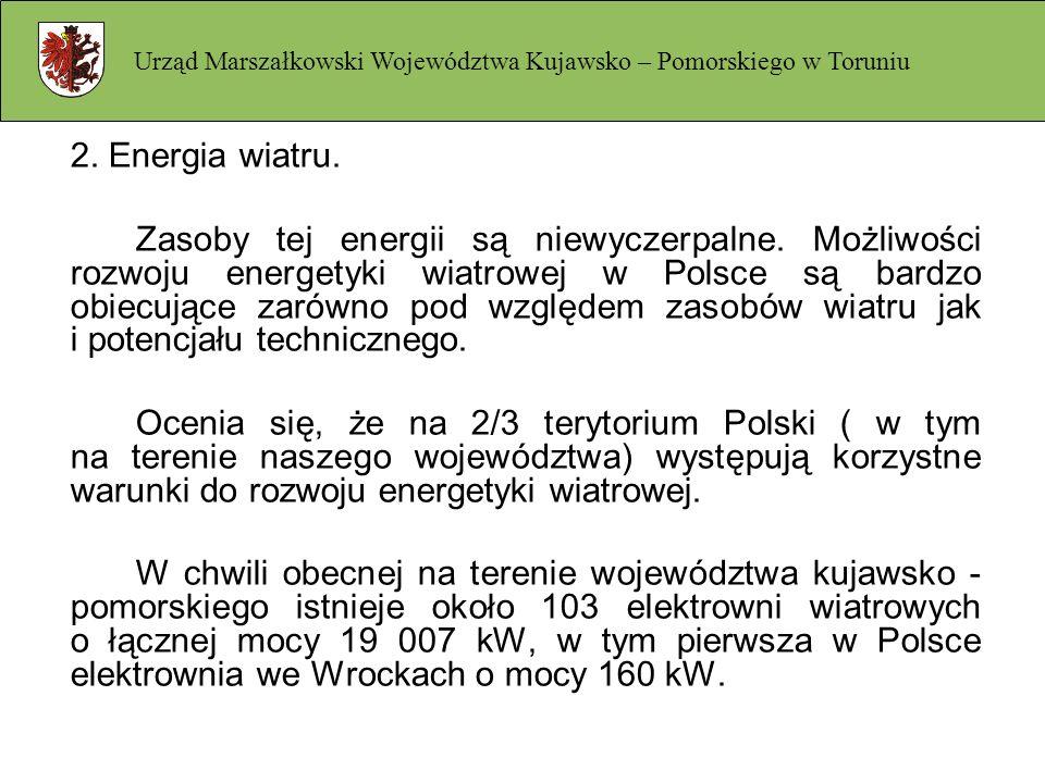2. Energia wiatru. Zasoby tej energii są niewyczerpalne. Możliwości rozwoju energetyki wiatrowej w Polsce są bardzo obiecujące zarówno pod względem za