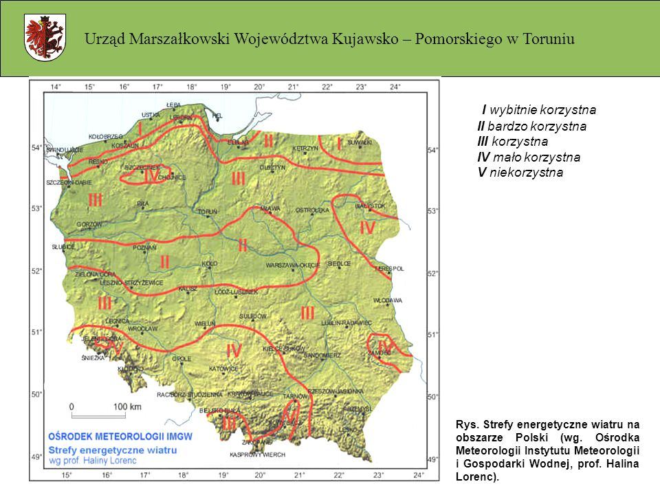 I wybitnie korzystna II bardzo korzystna III korzystna IV mało korzystna V niekorzystna Rys. Strefy energetyczne wiatru na obszarze Polski (wg. Ośrodk