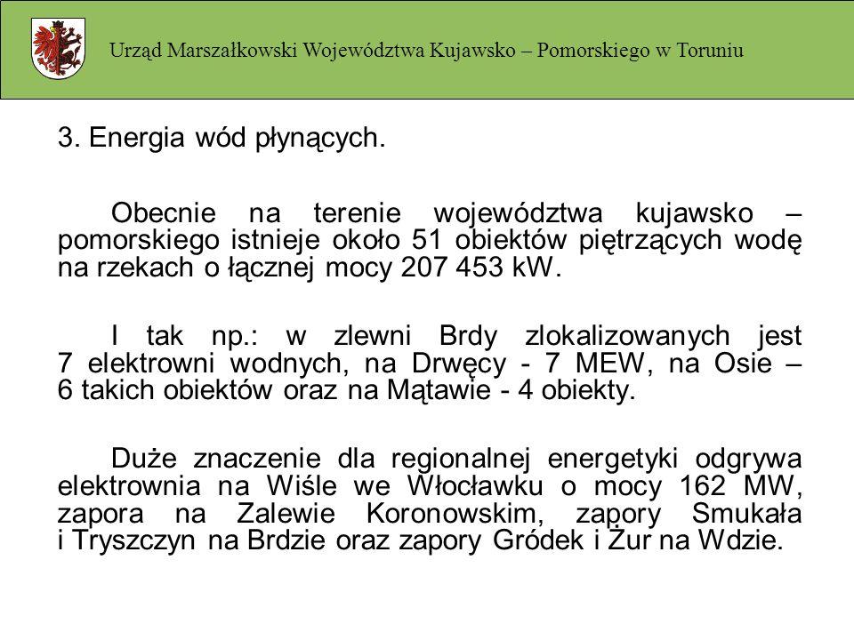 3. Energia wód płynących. Obecnie na terenie województwa kujawsko – pomorskiego istnieje około 51 obiektów piętrzących wodę na rzekach o łącznej mocy