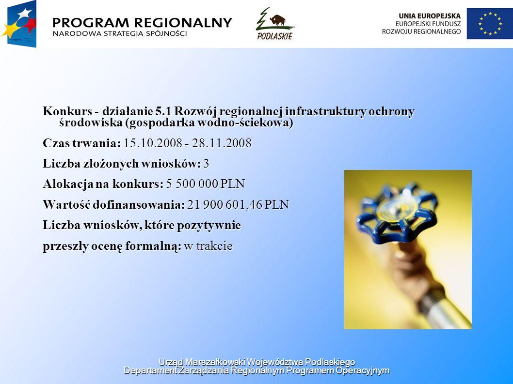 Konkurs - działanie 5.1 Rozwój regionalnej infrastruktury ochrony środowiska (gospodarka wodno-ściekowa) Czas trwania: 15.10.2008 - 28.11.2008 Liczba
