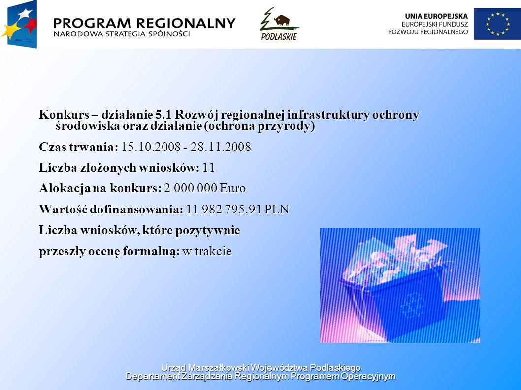 Konkurs – działanie 5.1 Rozwój regionalnej infrastruktury ochrony środowiska oraz działanie (ochrona przyrody) Czas trwania: 15.10.2008 - 28.11.2008 L