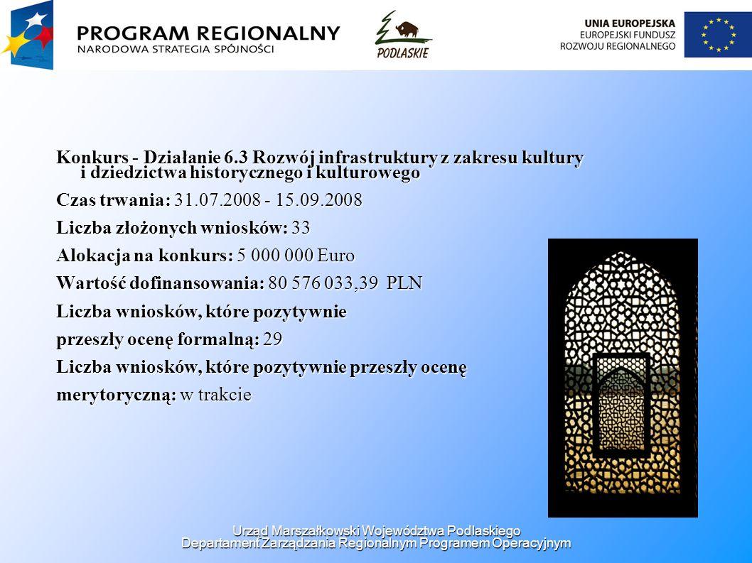 Konkurs - Działanie 6.3 Rozwój infrastruktury z zakresu kultury i dziedzictwa historycznego i kulturowego Czas trwania: 31.07.2008 - 15.09.2008 Liczba