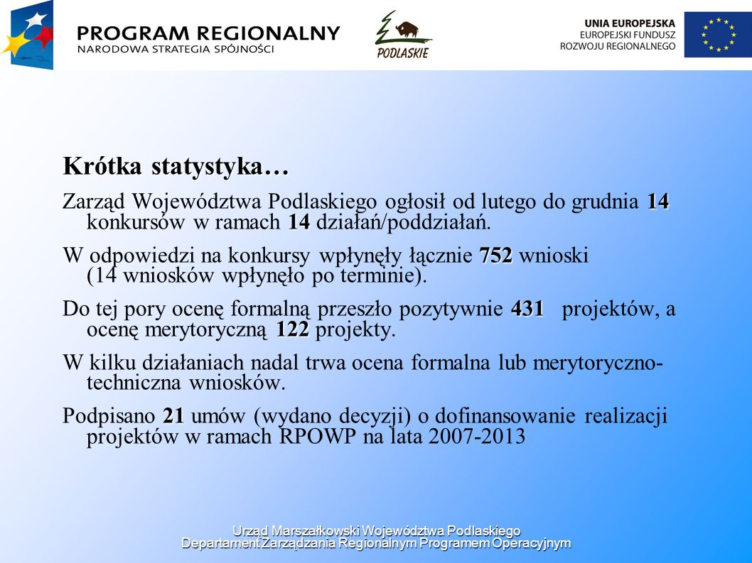 Konkurs - działanie 6.1 Rozwój infrastruktury z zakresu edukacji Czas trwania: Czas trwania: 01.04.2008 - 30.05.2008 Liczba złożonych wniosków: 76 Alokacja na konkurs: 25 000 000 PLN Wartość dofinansowania: 156 238 634,41 PLN Liczba wniosków, które pozytywnie przeszły ocenę formalną: 60 Liczba wniosków, które pozytywnie przeszły ocenę merytoryczną: w trakcie Urząd Marszałkowski Województwa Podlaskiego Departament Zarządzania Regionalnym Programem Operacyjnym