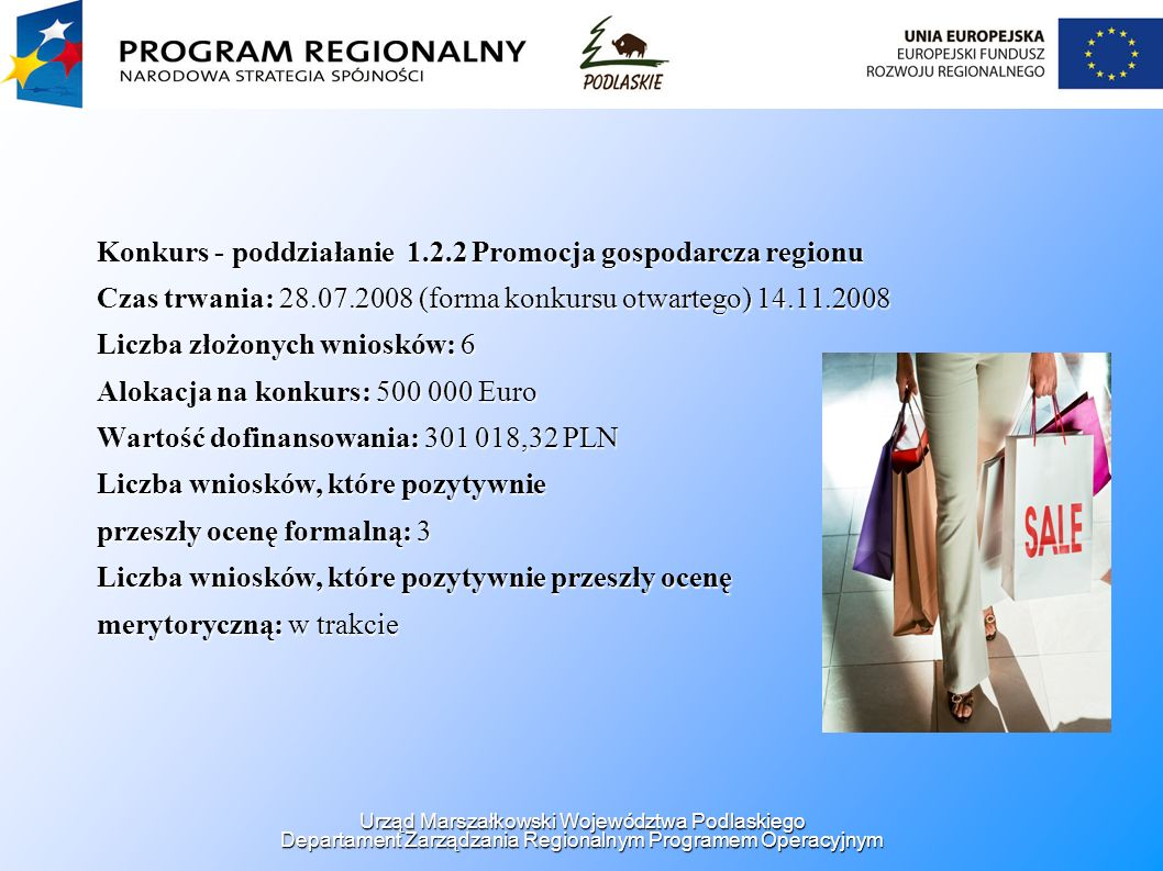 Konkurs - poddziałanie 1.2.2 Promocja gospodarcza regionu Czas trwania: 28.07.2008 (forma konkursu otwartego) 14.11.2008 Liczba złożonych wniosków: 6