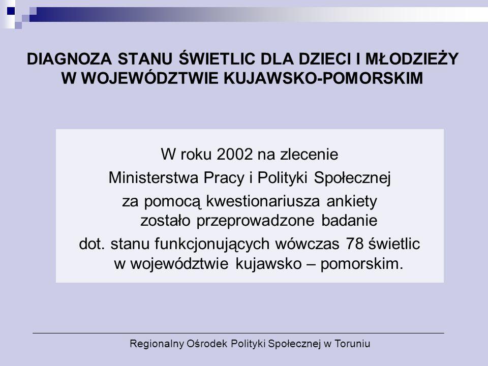 DIAGNOZA STANU ŚWIETLIC DLA DZIECI I MŁODZIEŻY W WOJEWÓDZTWIE KUJAWSKO-POMORSKIM W roku 2002 na zlecenie Ministerstwa Pracy i Polityki Społecznej za p