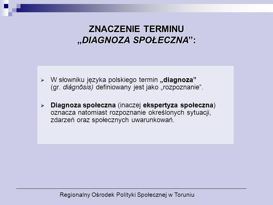 ZNACZENIE TERMINUDIAGNOZA SPOŁECZNA: diagnoza W słowniku języka polskiego termin diagnoza (gr. diágnōsis) definiowany jest jako rozpoznanie. Diagnoza