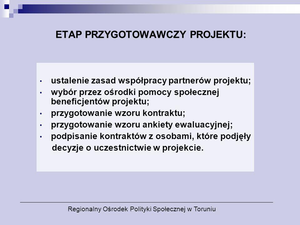 ETAP PRZYGOTOWAWCZY PROJEKTU: ustalenie zasad współpracy partnerów projektu; wybór przez ośrodki pomocy społecznej beneficjentów projektu; przygotowan