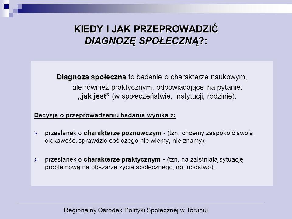 KIEDY I JAK PRZEPROWADZIĆ DIAGNOZĘ SPOŁECZNĄ?: Diagnoza społeczna Diagnoza społeczna to badanie o charakterze naukowym, ale również praktycznym, odpow