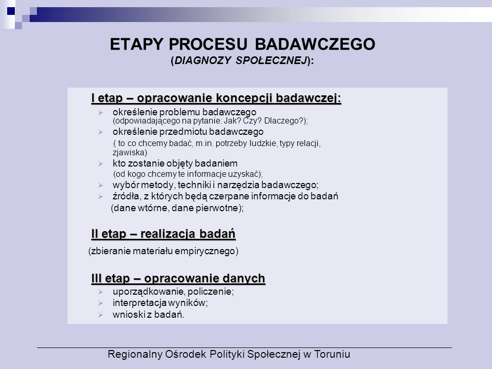 ETAPY PROCESU BADAWCZEGO (DIAGNOZY SPOŁECZNEJ): I etap – opracowanie koncepcji badawczej: określenie problemu badawczego (odpowiadającego na pytanie:
