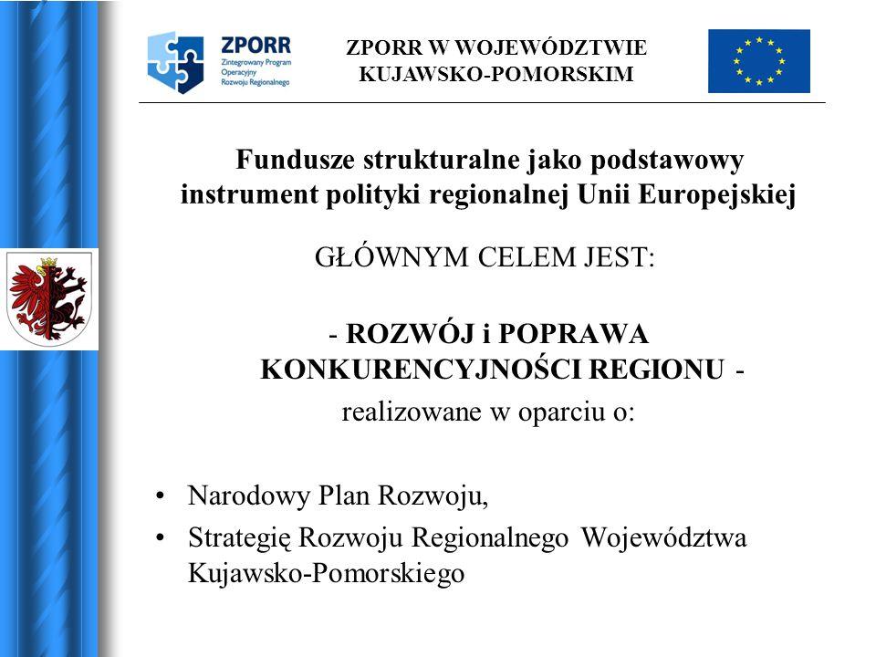 ZPORR W WOJEWÓDZTWIE KUJAWSKO-POMORSKIM Fundusze strukturalne jako podstawowy instrument polityki regionalnej Unii Europejskiej GŁÓWNYM CELEM JEST: -