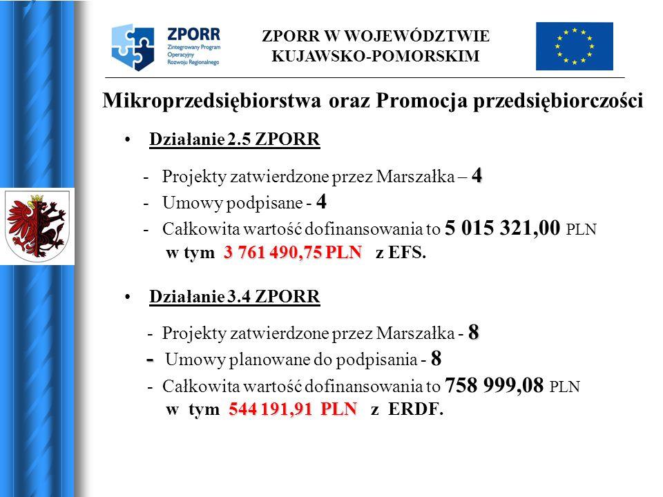 ZPORR W WOJEWÓDZTWIE KUJAWSKO-POMORSKIM Mikroprzedsiębiorstwa oraz Promocja przedsiębiorczości Działanie 2.5 ZPORR 4 - Projekty zatwierdzone przez Mar