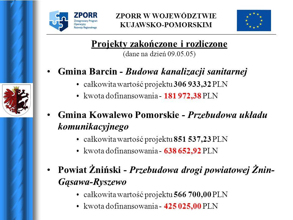 ZPORR W WOJEWÓDZTWIE KUJAWSKO-POMORSKIM Projekty zakończone i rozliczone (dane na dzień 09.05.05) Gmina Barcin - Budowa kanalizacji sanitarnej całkowi