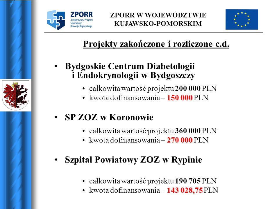ZPORR W WOJEWÓDZTWIE KUJAWSKO-POMORSKIM Projekty zakończone i rozliczone c.d. Bydgoskie Centrum Diabetologii i Endokrynologii w Bydgoszczy całkowita w