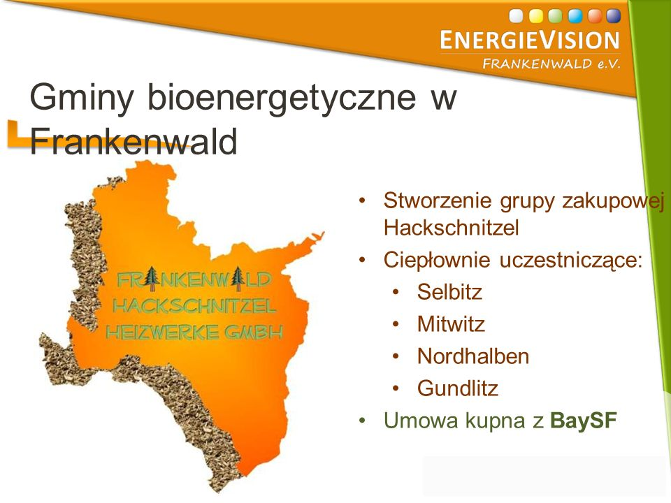 Stworzenie grupy zakupowej Hackschnitzel Ciepłownie uczestniczące: Selbitz Mitwitz Nordhalben Gundlitz Umowa kupna z BaySF