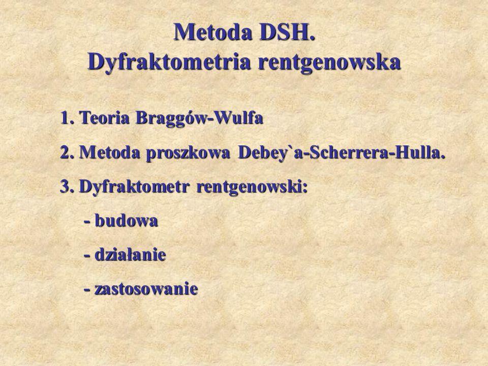 Metoda DSH. Dyfraktometria rentgenowska 1. Teoria Braggów-Wulfa 2. Metoda proszkowa Debey`a-Scherrera-Hulla. 3. Dyfraktometr rentgenowski: - budowa -