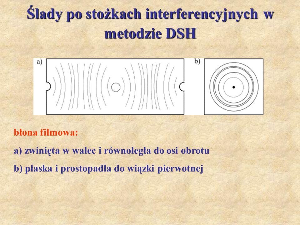 Ślady po stożkach interferencyjnych w metodzie DSH błona filmowa: a) zwinięta w walec i równoległa do osi obrotu b) płaska i prostopadła do wiązki pie