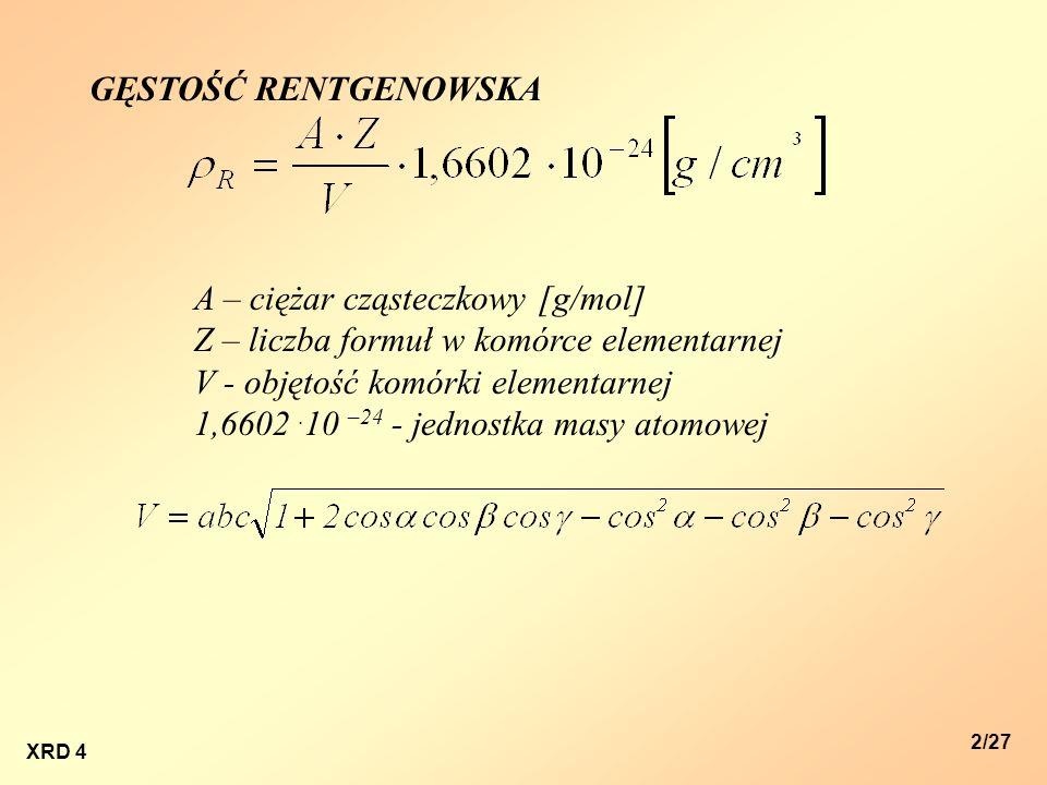 XRD 4 2/27 GĘSTOŚĆ RENTGENOWSKA A – ciężar cząsteczkowy [g/mol] Z – liczba formuł w komórce elementarnej V - objętość komórki elementarnej 1,6602. 10