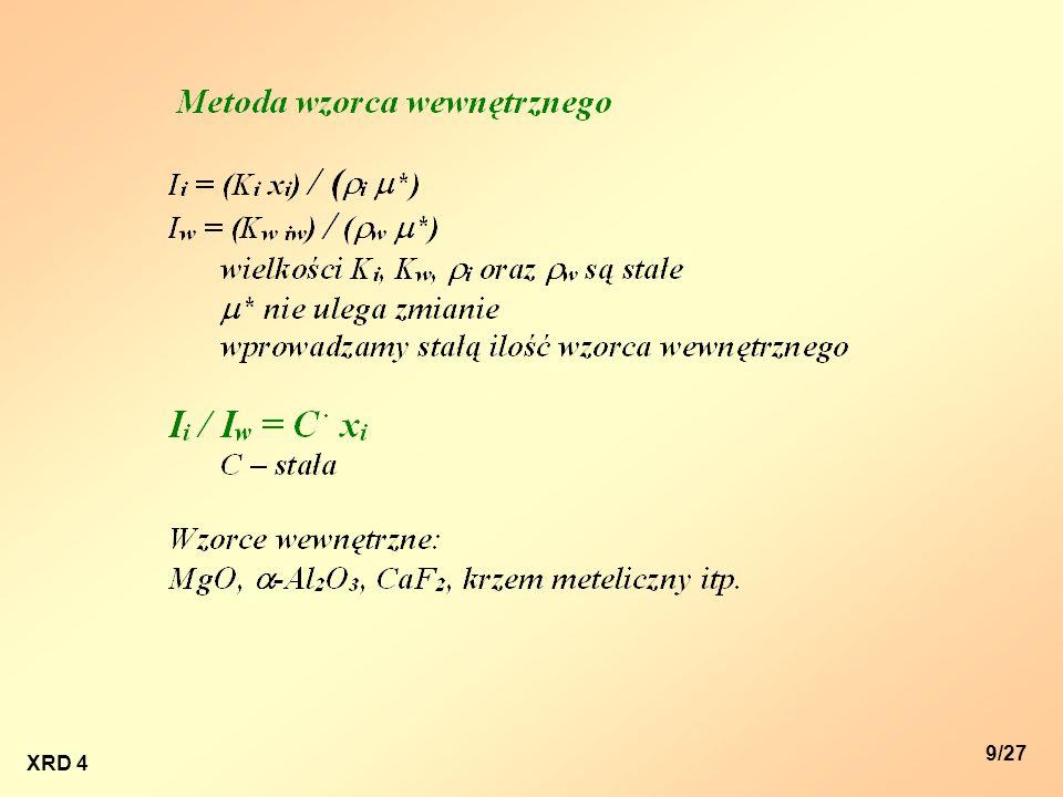 XRD 4 10/27 Ilościowe oznaczenie zawartości składnika A w próbce polikrystalicznej dwufazowej (faza A + faza B) metodą wzorca wewnętrznego 1.Przeprowadzenie analizy fazowej (metoda proszkowa).