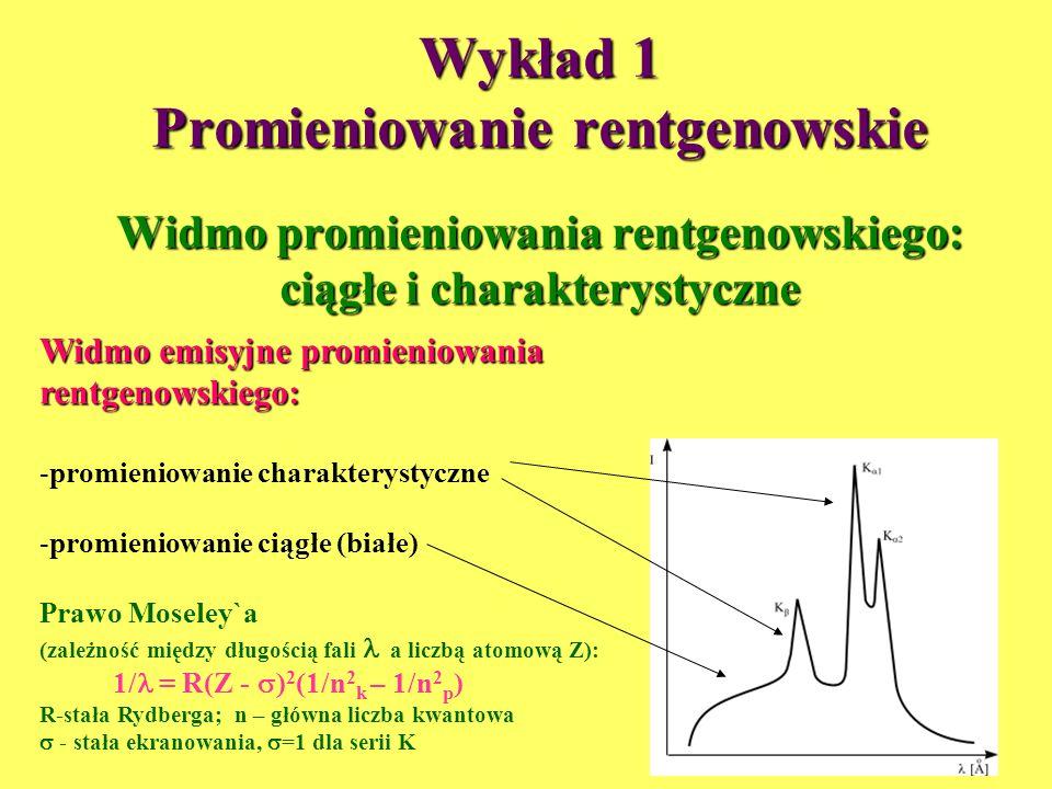 Wykład 1 Promieniowanie rentgenowskie Widmo promieniowania rentgenowskiego: ciągłe i charakterystyczne Widmo emisyjne promieniowania rentgenowskiego: