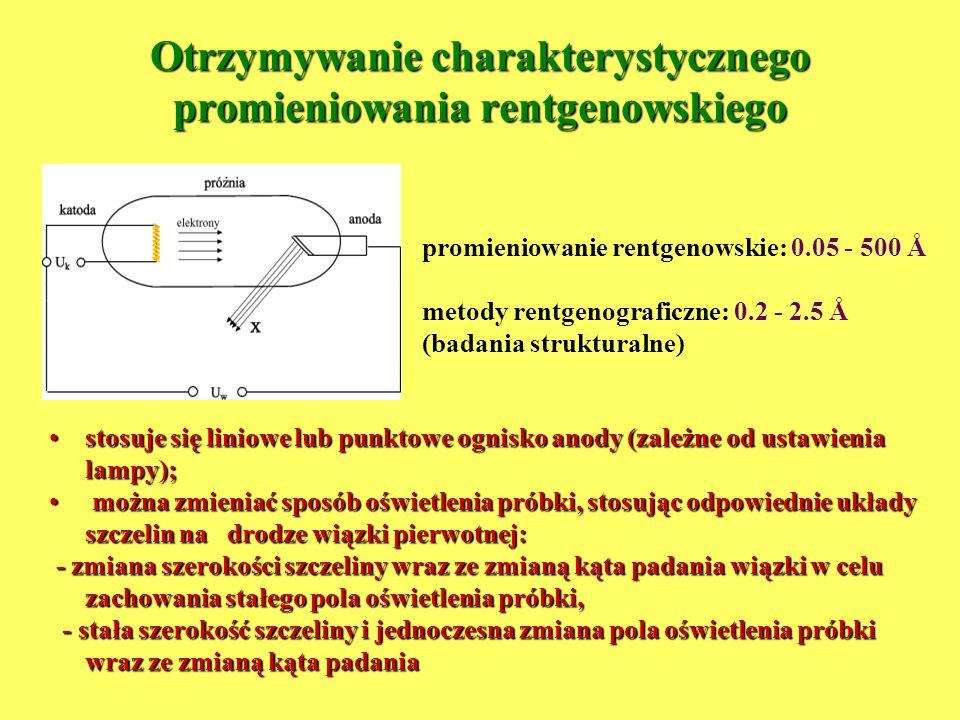 Otrzymywanie charakterystycznego promieniowania rentgenowskiego promieniowanie rentgenowskie: 0.05 - 500 Å metody rentgenograficzne: 0.2 - 2.5 Å (bada