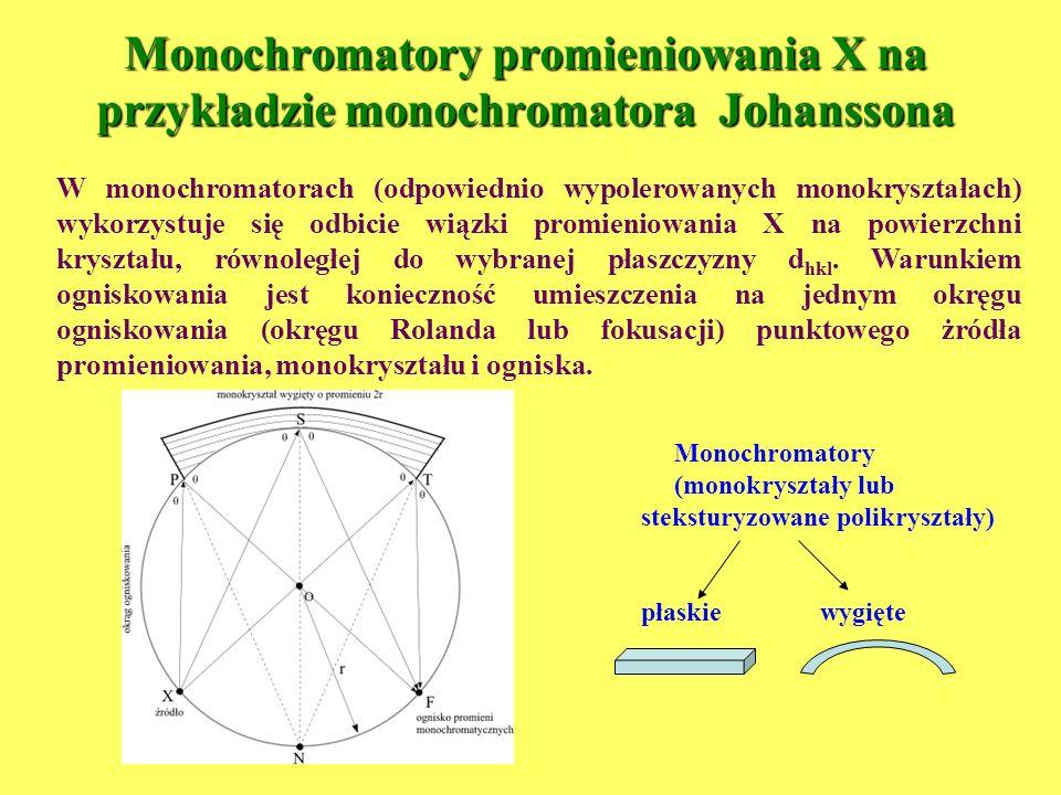 Monochromatory promieniowania X na przykładzie monochromatora Johanssona W monochromatorach (odpowiednio wypolerowanych monokryształach) wykorzystuje