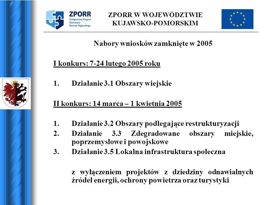 ZPORR W WOJEWÓDZTWIE KUJAWSKO-POMORSKIM Nabory wniosków zamknięte w 2005 I konkurs: 7-24 lutego 2005 roku 1.Działanie 3.1 Obszary wiejskie II konkurs: