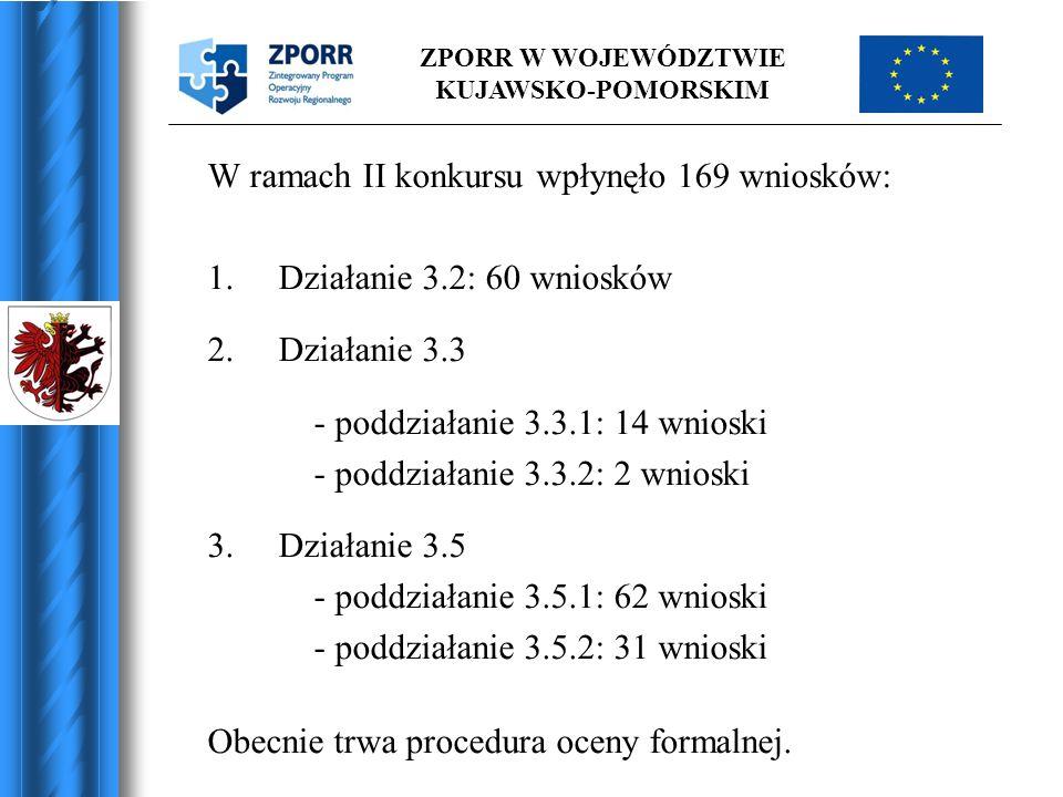 ZPORR W WOJEWÓDZTWIE KUJAWSKO-POMORSKIM W ramach II konkursu wpłynęło 169 wniosków: 1.Działanie 3.2: 60 wniosków 2.Działanie 3.3 - poddziałanie 3.3.1: